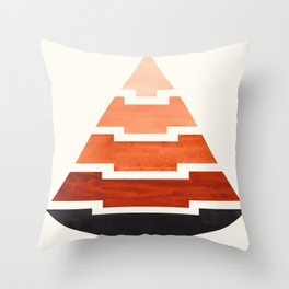 Burnt Sienna Watercolor Ombre Geometric Aztec Triangle Pyramid Pattern Minimalist Mid Century Design Throw Pillow