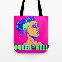 queer Tote Bags featuring QUEER AS HELL by Яussia