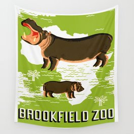 Vintage African Hippo Zoo Ad Wall Tapestry