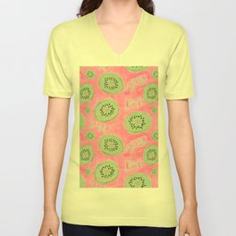 Watercolor Kiwi Slices in Neon Pink Punch Unisex V-Neck