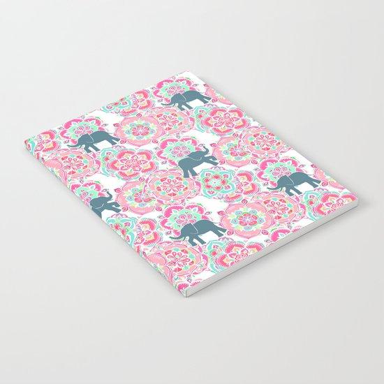 Tiny Elephants in Fields of Flowers Notebook