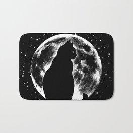 Cat Moon Silhouette Bath Mat