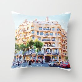 La Pedrera Barcelona Throw Pillow