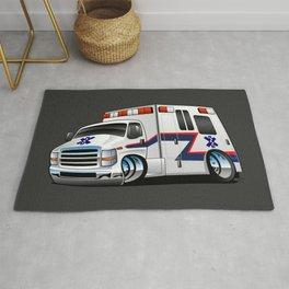 Paramedic EMT Ambulance Rescue Truck Cartoon Rug