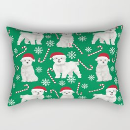 Maltese christmas festive dog breed holiday candy canes snowflakes pattern pet friendly dog art Rectangular Pillow