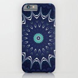 Navy Blue Teal Mandala Design iPhone Case
