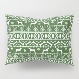 Jack Russell Terrier fair isle christmas sweater dog breed pattern holidays green and white Pillow Sham