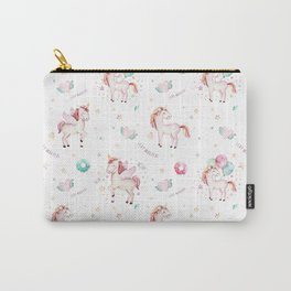 Hand painted blush pink green magical unicorn typography Carry-All Pouch