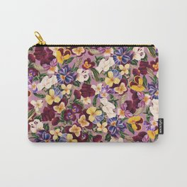 Vintage Pansies III Carry-All Pouch