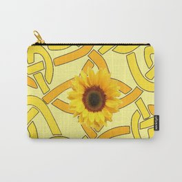 Decorative Yellow Sunflowers Celtic Pattern Art Carry-All Pouch
