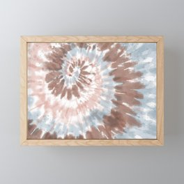 Neutral Blue and Pink Earth Tones Tie-Dye Framed Mini Art Print