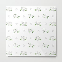 Hand drawn white black green watercolor elegant floral Metal Print