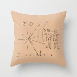 Nasa Pioneer Space Craft Plaque Alien Message Throw Pillow