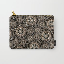 Rose Gold on Black Mandala Repeated Pattern Carry-All Pouch