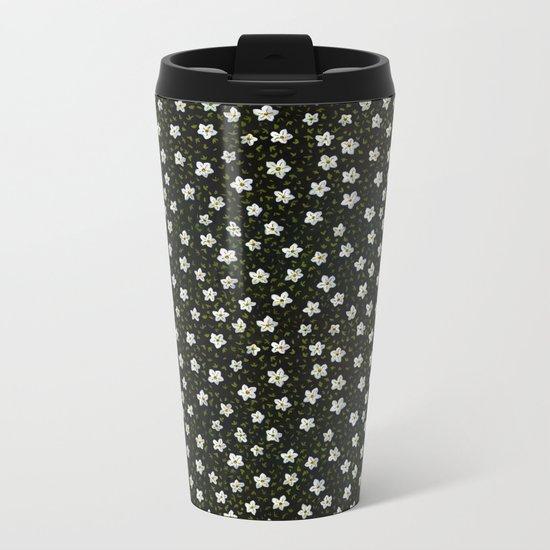 White Spring Flowers Metal Travel Mug