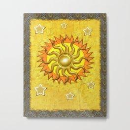 Celestial Whimsey Folk Art Metal Print