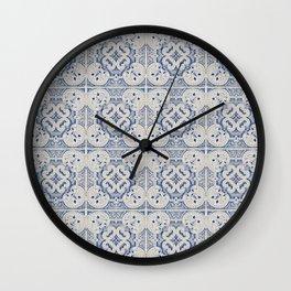 Vintage blue tiles pattern Wall Clock