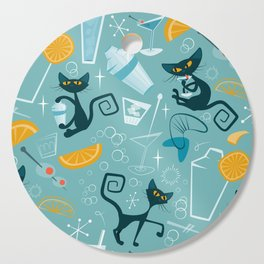 Mid century modern atomic style cats and cocktails Cutting Board