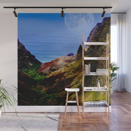 Hawaii Moon Over Coastal Cliffs Wall Mural
