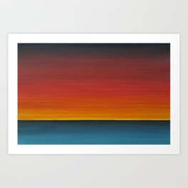 Sea Sunset Meditation Beach Painting Art Print