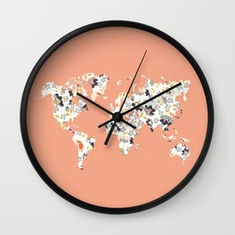 Floral world map Wall Clock