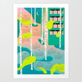 calendar 2019 blue Art Print