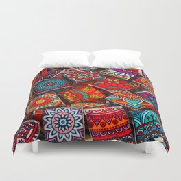 V1 Traditional Moroccan Colored Stones. Duvet Cover