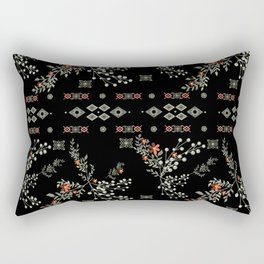 Seamless abstract floral pattern on black background Rectangular Pillow