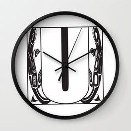 Northwest Pacific Coast American Native Totem White Letter U Wall Clock