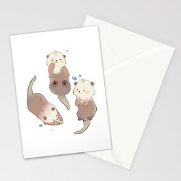Three Cute Otter Stationery Cards