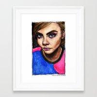 cara delevingne Framed Art Prints featuring Cara Delevingne:) by vooce & kat