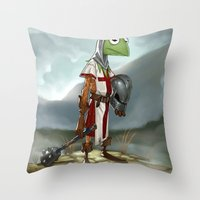 kermit Throw Pillows featuring Kermit the Knight by Alberto Camara