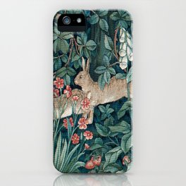William Morris Forest Rabbits and Foxglove iPhone Case