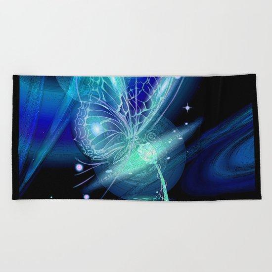 Galactic Butterfly Beach Towel