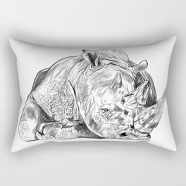 Rhino, Back off... It's Mine! Save the horn, project. Rectangular Pillow