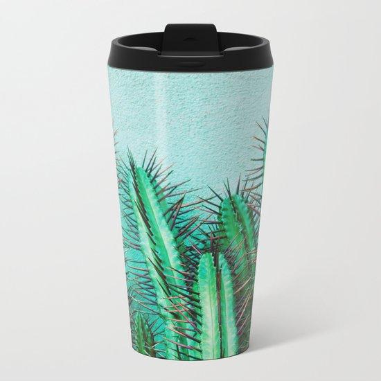 A prickly cactus on concrete Metal Travel Mug