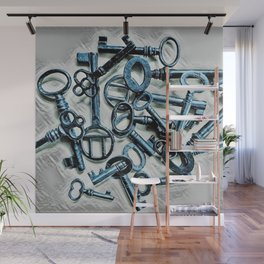 Vintage Skeleton Key Photograph Series Photo 1 – Metallic Blue - by Jéanpaul Ferro Wall Mural