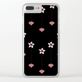Lantern and flowers pattern Clear iPhone Case