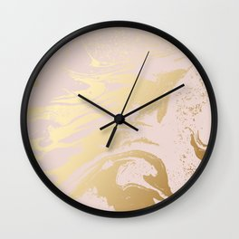 Gold tones swirl rose-gold background Wall Clock