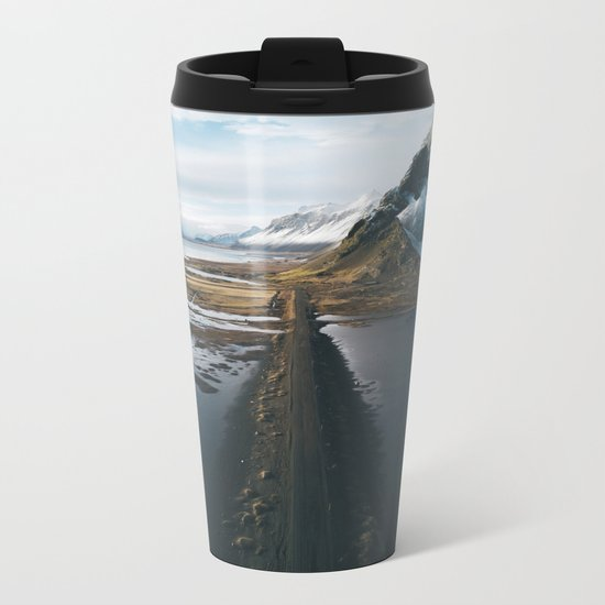 Mountain road in Iceland - Landscape Photography Metal Travel Mug