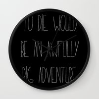 peter pan Wall Clocks featuring Peter Pan by Zhavorsa
