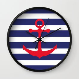 AFE Nautical Red Ship Anchor Wall Clock