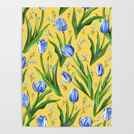 Blue Tulips + Babys Breath | Yellow Poster