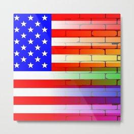 Gay Rainbow Wall American Flag Metal Print