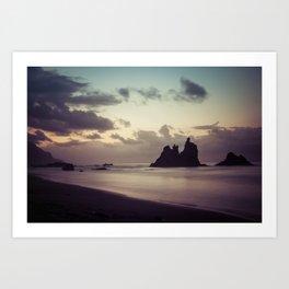 Long Exposure sunset in Benijo Beach Art Print