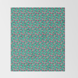 Cranberries pattern (on light green background) Throw Blanket