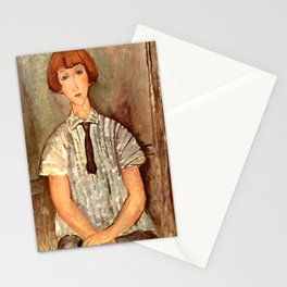 """Amedeo Modigliani """"Young Girl in a Striped Blouse"""" Stationery Cards"""