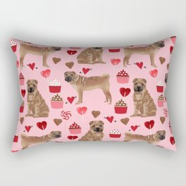 Sharpei valentines day love cupcakes hearts dog breed gifts pet friendly sharpei dogs Rectangular Pillow