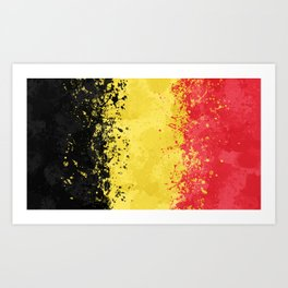 Belgium Flag - Messy Action Painting Art Print