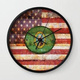 Usa and Washington flags. Wall Clock